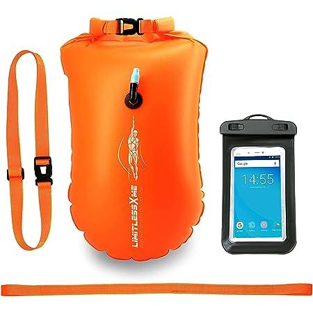 LimitlessXme Schwimmboje & Trockensack — 28l Orange. Sicherheit beim Schwimmen, Open Water und Triathlon. Swimming Buoy, Swim Bubble, Schwimm Boj aufblasbar