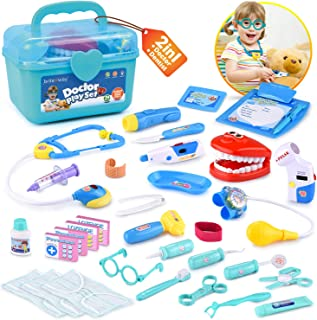 BRITENWAY Educational Doctor Medical Pretend Play Toy Set in Storage Box 34 Pcs – Battery Operated Tools with Lights & Sounds – Promote Learning, Hand to Eye Coordination, Fine Motor Skills