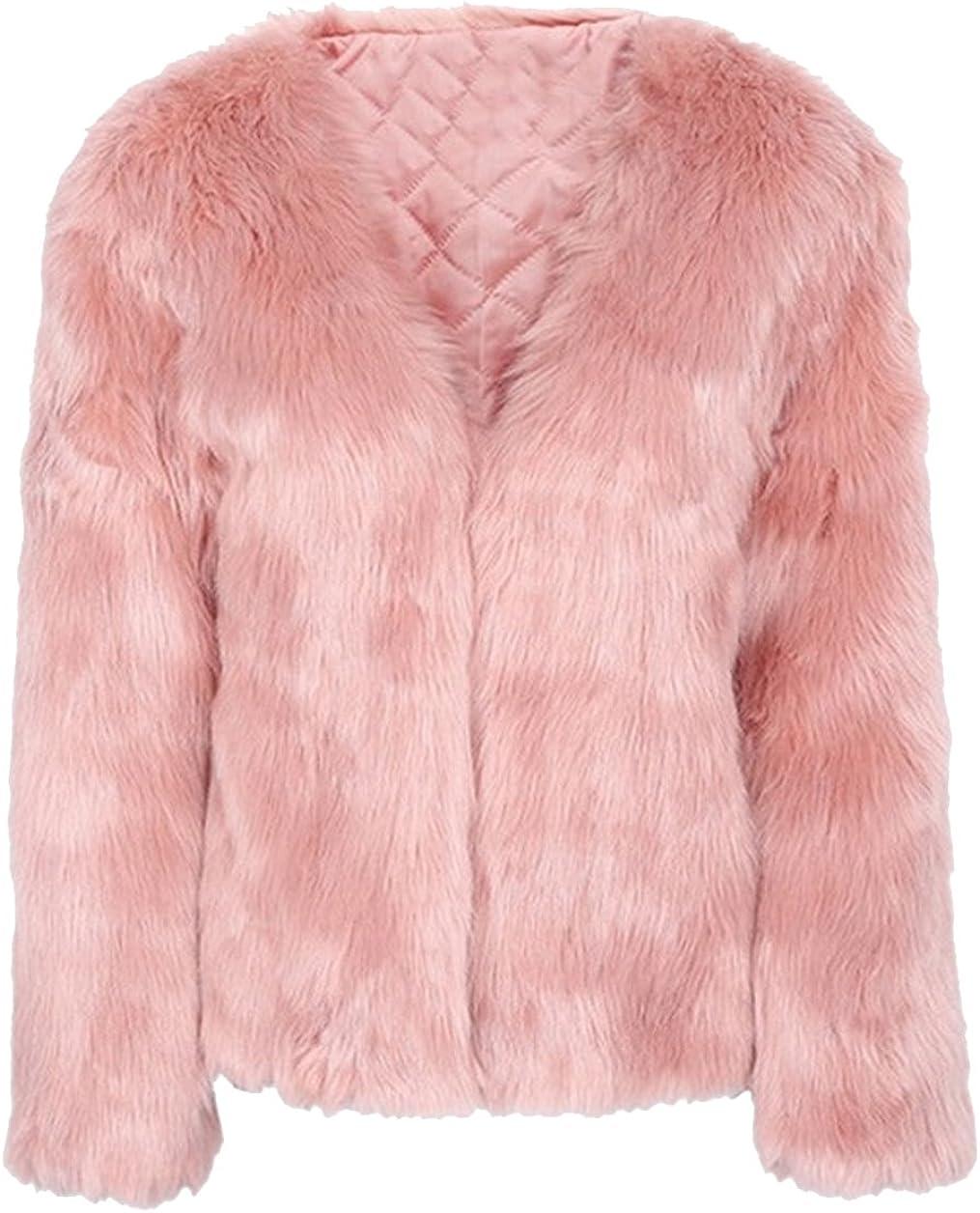 GESELLIE Women's Fashion Short Faux Fur Long Sleeve Jacket Warm Fluffy Outwear Coat
