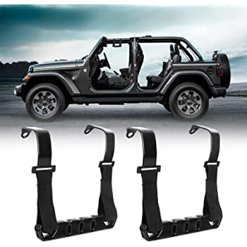 Solid Steel Front Grab Handles w//Black Grips for 2018 2019 2020 Jeep JL Wrangler /& Jeep Gladiator