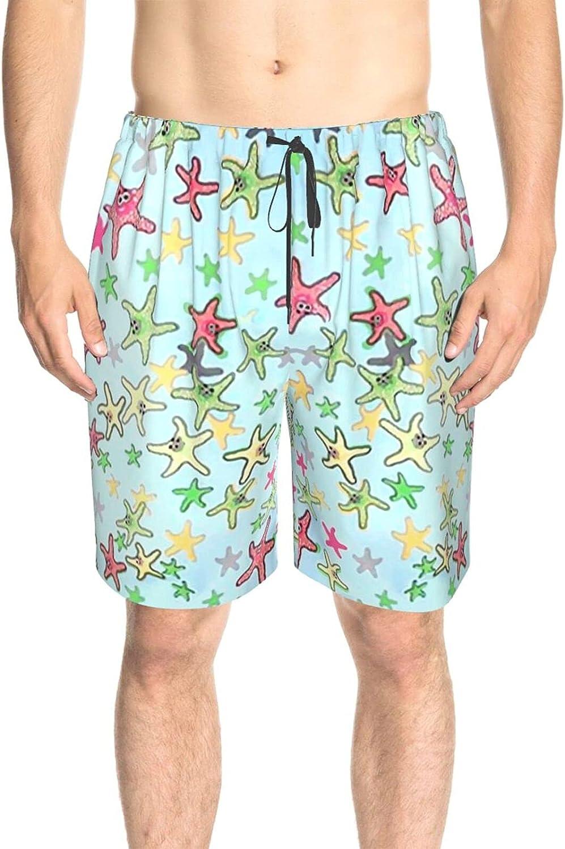 JINJUELS Men's Swim Shorts Cartoon Starfish Bathing Suit Boardshorts Drawstring 3D Printed Swimwear Bathing Suits