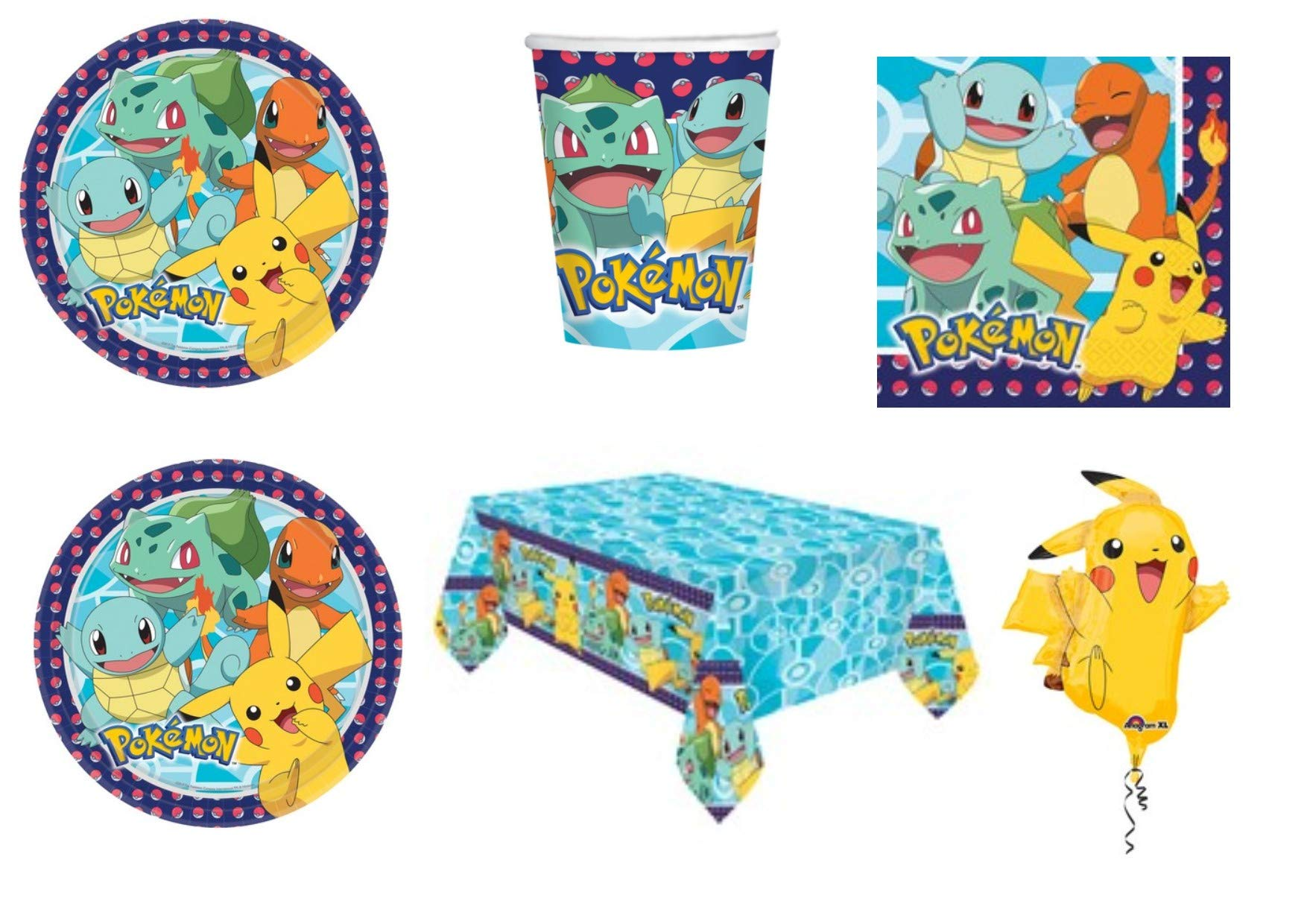 Party Store Web by Casa Dolce Casa Pokemon Pikachu - Juego de mesa de Pokémon - Kit n.º 5 CDC (40 platos, 40 vasos, 48 servilletas, 1 mantel y 1 globo Supershape: Amazon.es: Juguetes y juegos