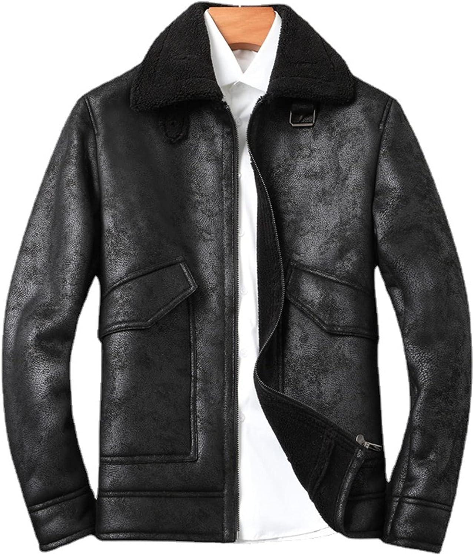 Men's Vintage Sheepskin Jacket Sherpa Fleece Lined Cashmere Shearling Thicken Winter Jacket Winter Jean Jacket Cowboy Coat
