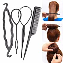 Artifice 4Pcs/Set Black Plastic DIY Styling Tools Pull Hair Clips For Women Hairpin Comb