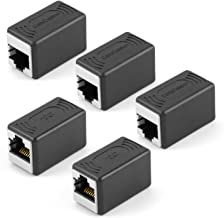CableCreation RJ45 Coupler 5 Pack Cat7/Cat6/Cat6a/Cat5e/Cat5 Ethernet Cable Extender Adapter Straight Modular in-Line Coupler Female to Female RJ45 Punch-Down Keystone Jack, Black
