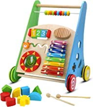 Pidoko Kids Block and Roll Cart - Wooden Push and Pull Baby Walker with Multiple Activity Centre