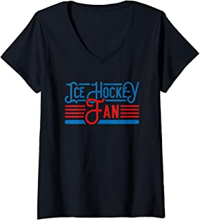 Womens Ice Hockey Fan T Shirt Ice Sports Ice Hockey Lover V-Neck T-Shirt