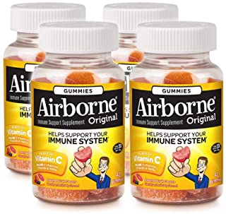 Airborne Assorted Fruit Flavored Gummies,1000mg of Vitamin C and Minerals & Herbs Immune Support 42 ct (Pack of 4)