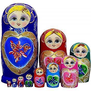LK King/&Light 10pcs Beautiful Blue/_White Russian Nesting Dolls Matryoshka Wooden Toys