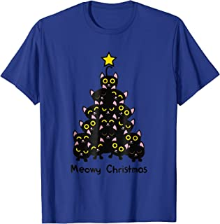 Meowy cat Christmas tree shirt men women t shirt plus size