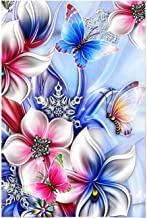 5D Full Drill Diamond Painting Kit, KISSBUTY DIY Diamond Rhinestone Painting Kits for Adults and Beginner Diamond Arts Craft Home Decor, 15.8 X 11.8 Inch (Flower Butterfly Diamond Painting)