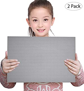 Sawaruita 2 Pack Classic Baseplate Supplement, 10 x 15 Large Plates for Building Bricks, Compatible with Lego Sets Kids Games Architecture Toys (Gray)