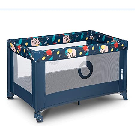 Lionelo Stefi Cuna Bebe Parque Infantil Bebe Apertura Lateral colchoneta protección contra el Plegado LockGuard Lados de Tela de Malla Bolso de Transporte (Azul Oscuro)