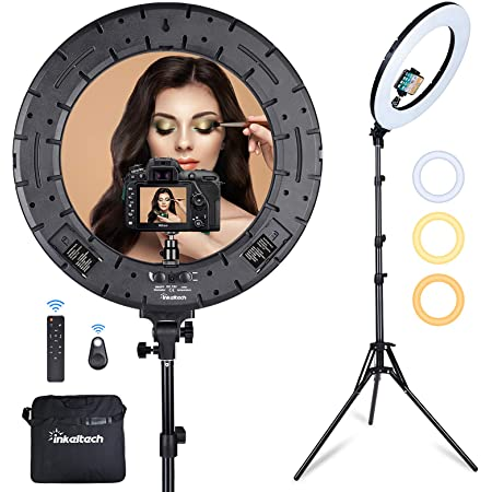 Inkeltech Ring Light - 18 inch 60 W Dimmable LED Ring Light Kit with Stand - Adjustable 3000-6000 K Color Temperature Lighting for Vlog, Makeup, YouTube, Camera, Photo, Video - Control with Remote