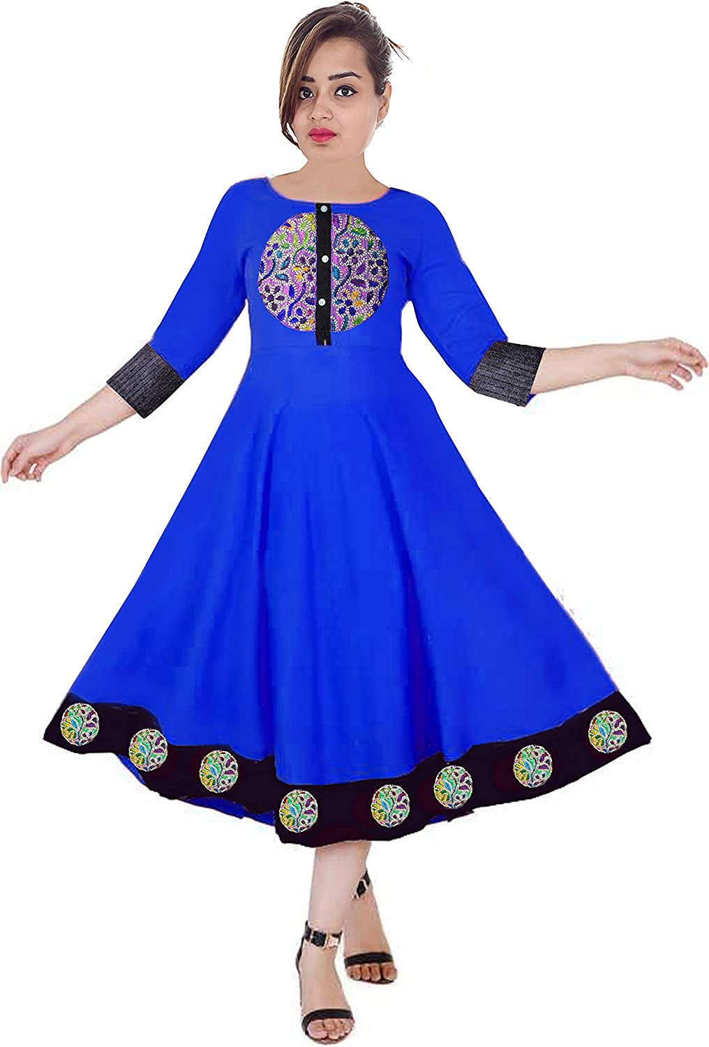 Lakkar Haveli Women Embroidered Dress Ethnic Maxi Dress Casual Long Frock Suit Party Wear Tunic Royal Blue