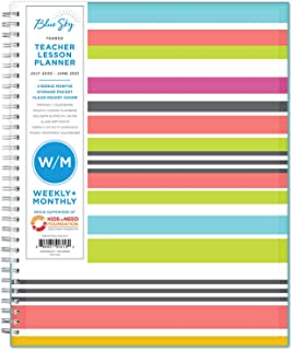 "Blue Sky 2020-2021 Academic Year Teachers Weekly & Monthly Lesson Planner, CYO Cover, 8.5"" x 11"", Stripes"