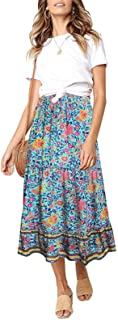 SimpleFun Women's Boho Floral Print Elastic High Waisted Pleated A Line Long Maxi Skirt with Pockets
