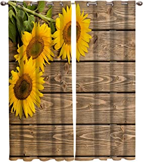 T&H Home Draperies & Curtains Set, Custom Sunflowers on Rustic Old Barn Wood Print Window Curtain, 2 Panels Curtain for Sliding Glass Door Bedroom Living Room, 80