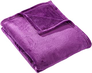 HYSEAS Velvet Throw, Light Weight Plush Luxurious Super Soft and Cozy Fuzzy Anti-Static Throw Blanket for Couch Chair All Seasons, 50x60 Inches, Purple