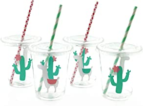 Pink Mint Llama Cactus Cups - 12 Ct Baby Shower Birthday Fiesta Party Supplies