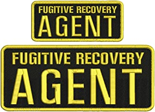 Fugitive Recovery Agent 4x10 and 2.5x6 Black and All Gold with Hook on Back