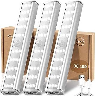 LED Closet Lights Rechargable, ZHENREN 30 LED Motion Sensor Light for Closet, Closet Light Stick, Wireless 3 Brightness Mo...