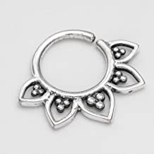 Lotus Septum Ring, Oxidized Sterling Silver Tribal Indian Nose Hoop Piercing Earring, also fits Tragus, Cartilage, Helix, 18g, Handmade Jewelry
