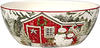 "Certified International Snowman's Farmhouse Deep Serving Bowl, 10"" X 4"", Multicolor"