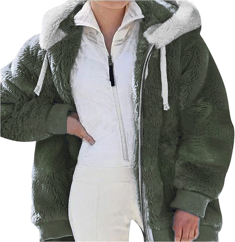 Fleece Jacket Women with Hoodie Plus Size Teddy Coat Full Zip Soft Winter Warm Sherpa Shaggy Outdoor Pockets Overcoat
