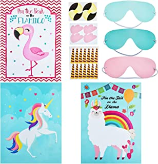 3 Sets Pin The Tail On The Llama Game, Pin the Horn on the Unicorn Party Game and Pin the Beak on the Flamingo Game for Kids's Party Games