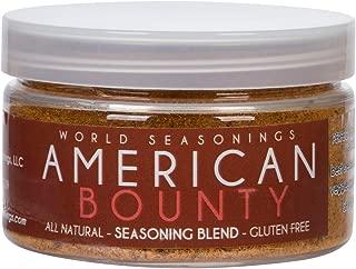 World Seasonings American All-Purpose Seasoning – Beef Dry Rub, Steak Seasoning, Meat Marinade, BBQ & Smoker Spice – Try it on Burgers, Chicken, Fish, Lamb, Vegetables & Soups (AMERICAN BOUNTY)