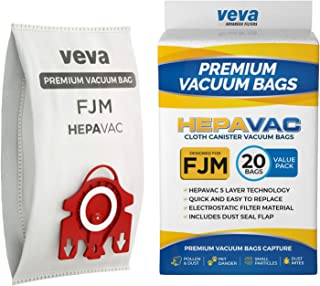 VEVA 20 Premium HEPA Vacuum Bags Style FJM Compatible with Miele Vacuums Compact C1, C2; Complete C1 and AirClean 3D Efficiency Canister Bag