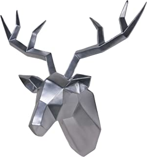 Deer Head Wall Decor Geometrical Silver Antler Decor Wall Sculpture Faux Taxidermy Resin..