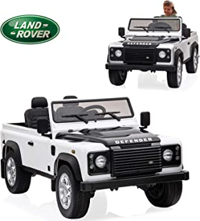 Kids Ride on Car 12V Licensed Land Rover Kids Electric Car Dual Drive Motorized Cars for Kids with Remote Control, Built-in LED Lights,Horn USB MP3 Player (White)
