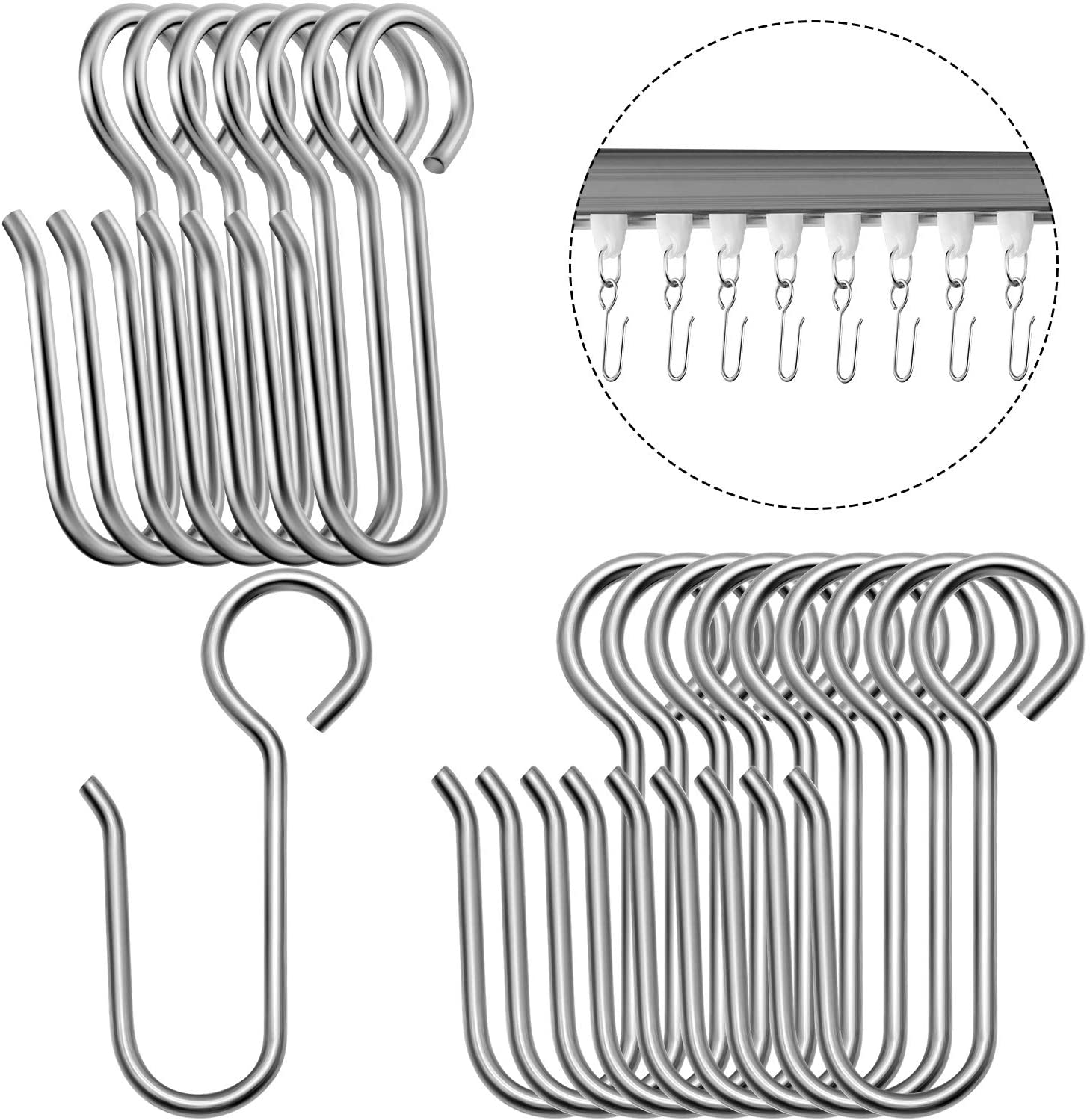 Metal Curtain Track Hooks S Shaped Small Curtain Hooks Stainless Steel  Drape Wire Hooks for Ceiling Curtain Drape Track 20