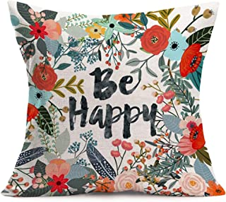 Aremazing Cotton Linen Home Farmhouse Decor Pillowcase Throw Pillow Cushion Cover 18 x 18 Inches Inspirational Letters with Beautiful Flowers/Leaves (Be Happy)