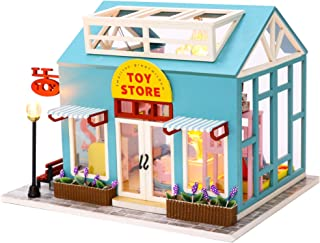 Cool Beans Boutique Miniature Dollhouse DIY Kit - Wooden Toy Shop - with Dust Cover - Architecture Model kit (English Manual)
