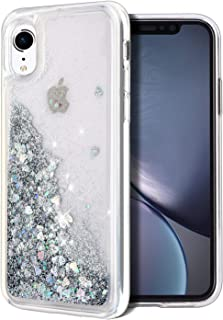 WORLDMOM for iPhone XR Case, Double Layer Design Bling Flowing Liquid Floating Sparkle Colorful Glitter Waterfall TPU Protective Phone Case for Apple iPhone XR [6.1 Inch 2018], Silver