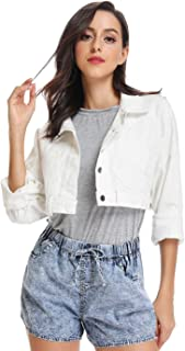 Mia Pristine Women's Casual Crop Denim Jacket Front and Back Button Outwear Slim Coat