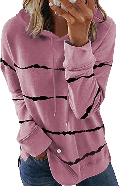 FIYOTE Womens Color Block Striped Hoodie Long Sleeve Casual Loose Drawstring Pullover Sweatshirt Tops