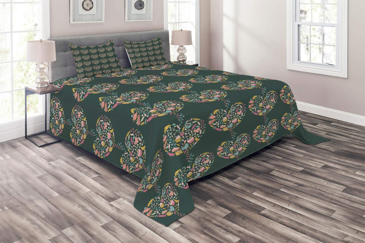 Ambesonne Romantic Coverlet Hearts Superior sale Various Shapes from Deliciou