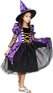 Girls Kids Child's Witch Costume Halloween Dress Purple Witch Glamour Queen Deluxe Set