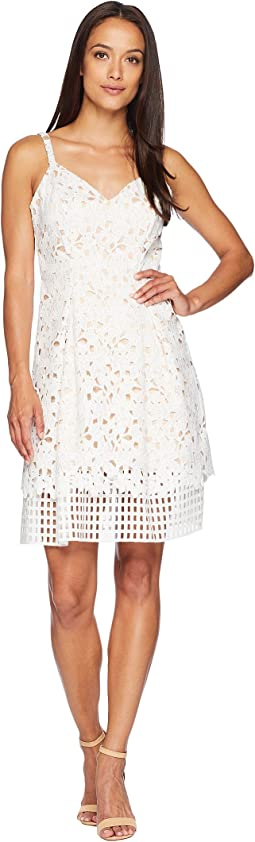 Vince Camuto Lace Sleeveless Fit and Flare Dress