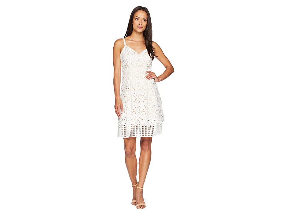 Vince Camuto Lace Sleeveless Fit and Flare Dress (Ivory) Women