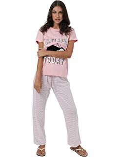 Premoda Cotton Short-Sleeve Letter Print T-shirt with Drawstring Elastic Waist Striped Pants Pajamas for Women - Rose and ...