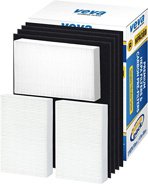 VEVA Premium HEPA Replacement Filter 3 Pack Including 4 Precut Activated Carbon Pre Filters For HPA300 Compatible With HW Air Purifier 300 And Filter R