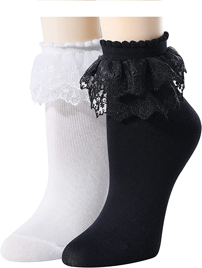 Vintage Style Socks- Knee High, Bobby, Anklet TRENSOM Lace Trim Socks Lace Socks With Ruffles For Women Frilly Ankle Crew Lettuce Socks  AT vintagedancer.com