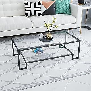 CJDM Table Basse en marbre de Fer, Petite Table Basse en Verre Double Appartement, Table Basse rectangulaire créative dans...