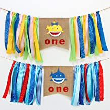 LVEUD Shark Theme Birthday Party Ornaments Blue and Yellow 1st Birthday Banner Pull Flowers,