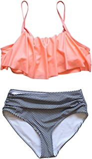 EDTara Women Sexy Bikini Swimsuit Set Cute Ruffle Bra + Triangle Shorts Swimwear Beach Wear
